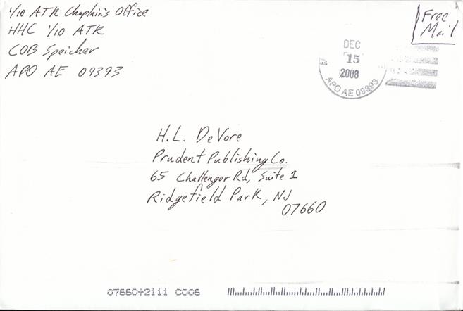 Envelope from COB Speicher