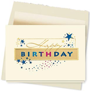Design #636AY Golden Birthday Sparkle Greeting Card