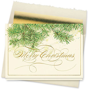 Design #131CX - Glistening Evergreen Branches Christmas Card