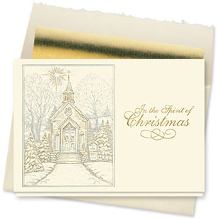 Design #140CX Christmas Chapel Holiday Card