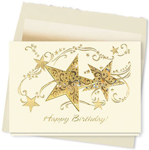 Design #614AY Happy Birthday Glittering Star Card