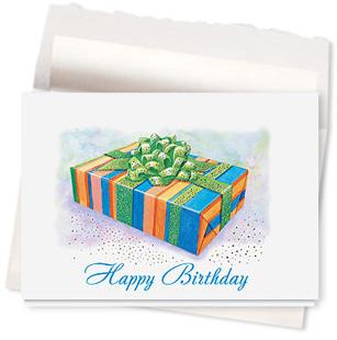 Design #466AE Birthday Box Sparkle Greeting Card