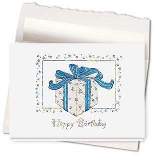Design #571AE Blue Ribbon Birthday Card