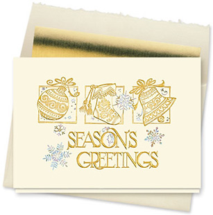 Design #094CX - Golden Greetings Holiday Card