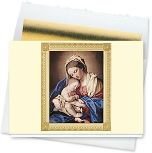 Design #126CW - Madonna & Child Religious Christmas Card