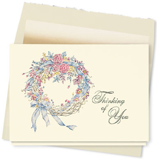 Design #222AY - Victorian Wreath Thinking of You Card