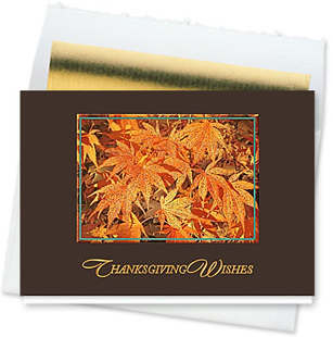 Design #132CW - Glittering Maple Leaves Thanksgiving Card