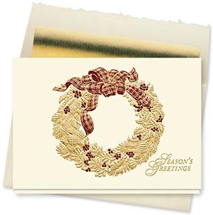 Design #138CX - Golden Holiday Wreath Christmas Card