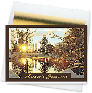 Design #149CW - Golden Snowscape Holiday Card