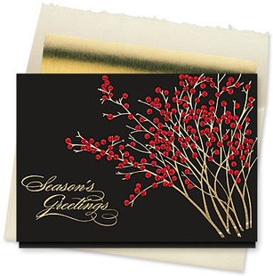Design #864CX - Red Berry Greetings Holiday Card