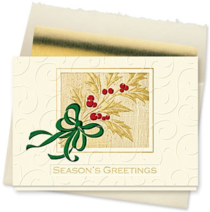 Design #141CX - Gilded Holly Season's Greetings Card