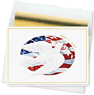 Design #307CW - Patriotic Dove Peaceful Holiday Card