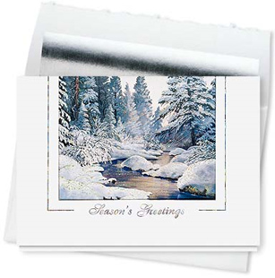 Design #533CS - Snowy Morn Holiday Seasons Greetings Card