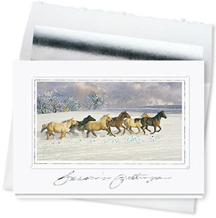 Design #575CS - Holiday Spirit Horses Greeting Card