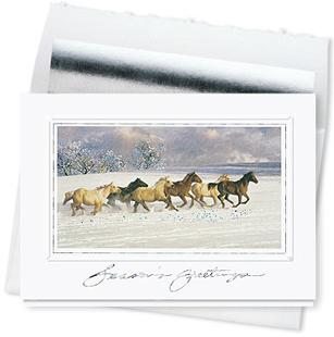 Design #575CS - Holiday Spirit Horses Greeting Card