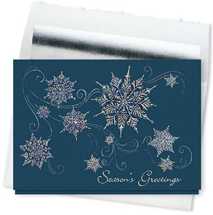 Design #843CS - Sparkling Snowflakes Seasons Greetings Card