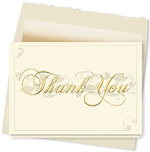 Design #095AY - Filigree Thank You Card