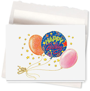 Design #588AR - Sparkling Balloon Birthday Card