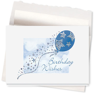 Design #464AE - Birthday Balloon Glitter Greeting Card