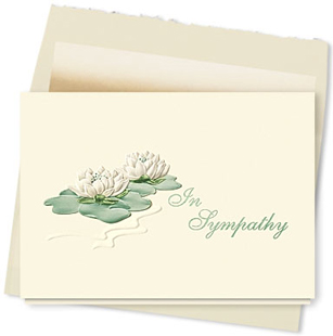 Design #098AY - Sympathy Water Lilies Greeting Card