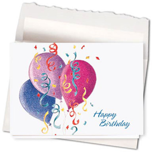Design #480AE - Birthday Confetti & Balloons Card