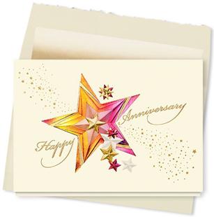Design #340AY - Sparkling Stars Anniversary Card