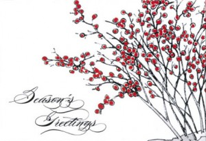 Concept sketch with color - Design #864CX, Red Berry Greetings Holiday Card