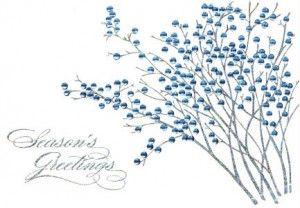 Design concept - Design #864CX - white card with blue berries