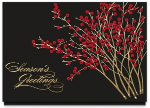 Actual creative for design #864CX, Red Berry Greetings Holiday Card