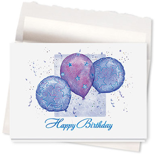 Design #462AE - Balloon & Stars Birthday Card