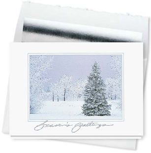 Design #610CS - Seasons Greetings Peaceful Winter Card