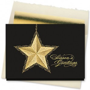 Design #870CX - Golden Greetings Star Christmas Card