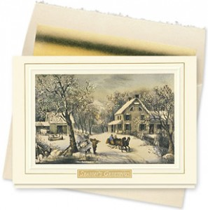 Design #624CX - American Homestead Winter Holiday Card