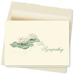 Design 098AY - Sympathy Water Lilies Greeting Card