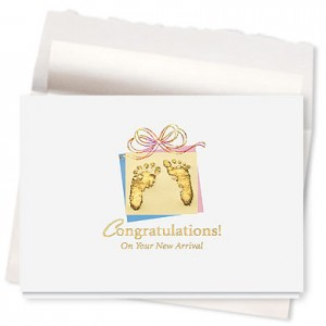 Design 592AR - Precious Footprints New Baby Card