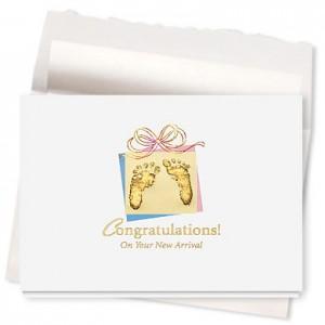 Design 592AR - Precious Footprints New Baby Card