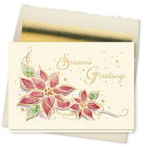 Design 154CX - Watercolor Poinsettia Holiday Card