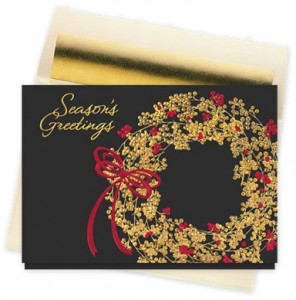Design 867CX - Holiday Berry Wreath Christmas Card