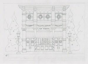 Design 157CW - Holiday Toy Shoppe Christmas Card Original Sketch