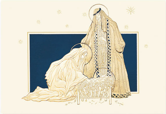 Golden Nativity Religious Holiday Card