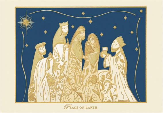 Gilded Nativity Christmas Card