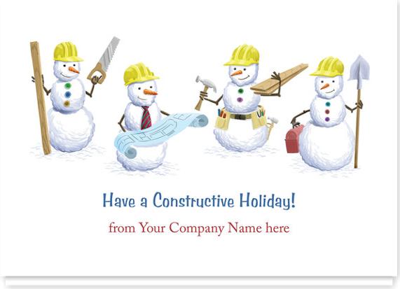 Construction Snowmen Christmas Card