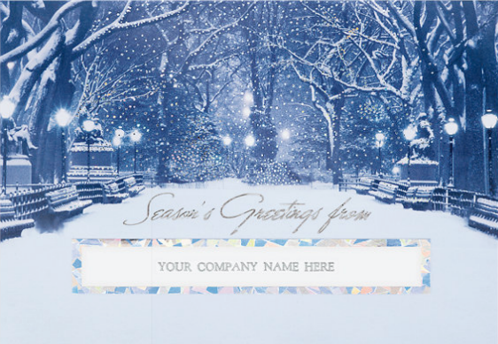 City Snowfall Die-cut Seasons Greeting Card