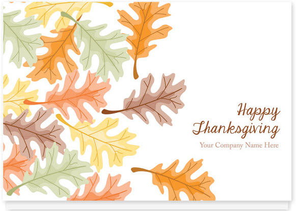Scattered Leaves Holiday Card