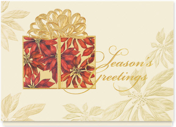 Poinsettia Wrappings Holiday Card