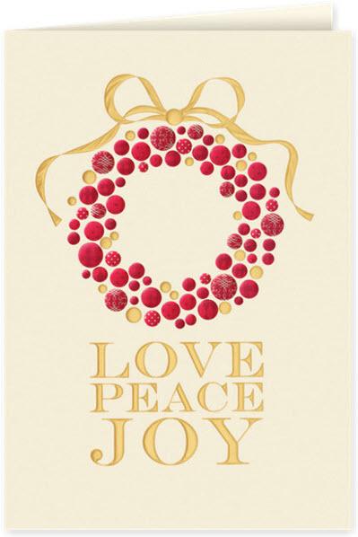 Love, Peace, Joy Wreath Holiday Card