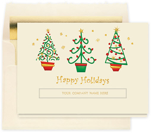 Happy Holiday Trees Christmas Card