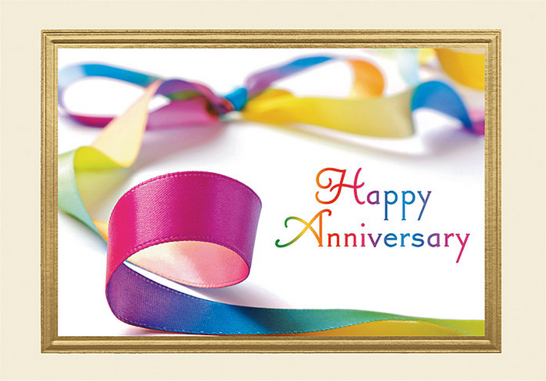 Colorful Ribbon Anniversary Card - Design H4RAY